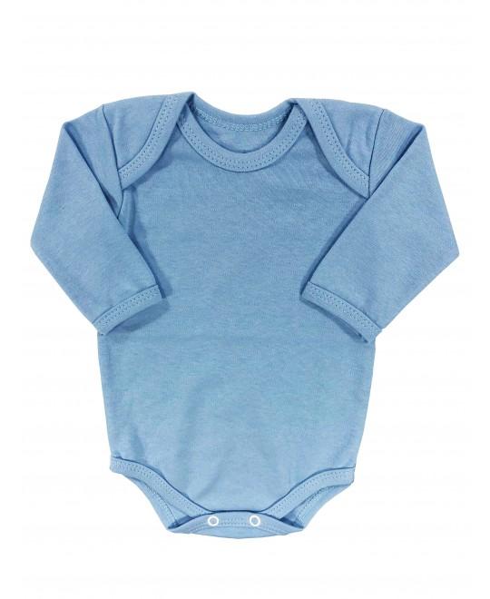 Body Manga Longa para Bebê Básico Azul - Piu Blu