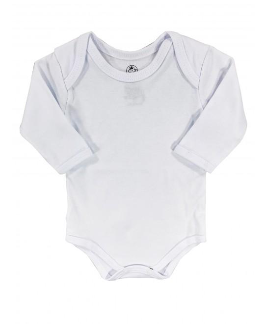 Body Manga Longa para Bebê Básico Branco - Piu Blu