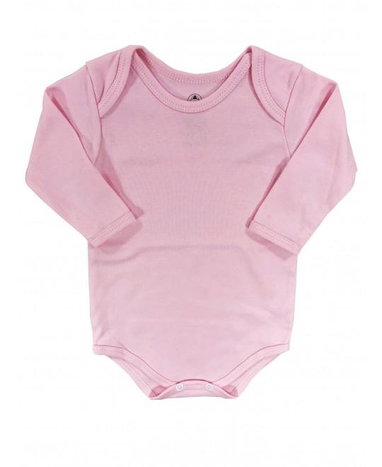 Body Manga Longa para Bebê Básico Rosa- Piu Blu