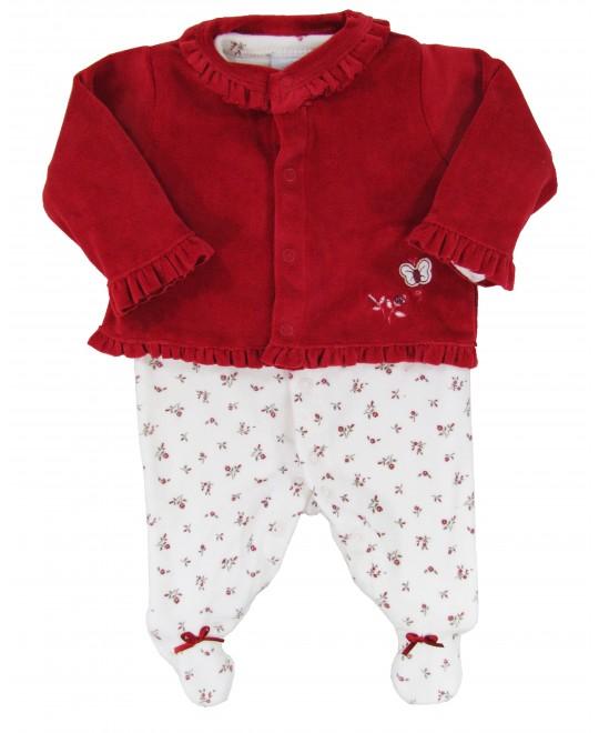 Macacão e Casaquinho para Bebê Borboleta e Flores - Piu Piu