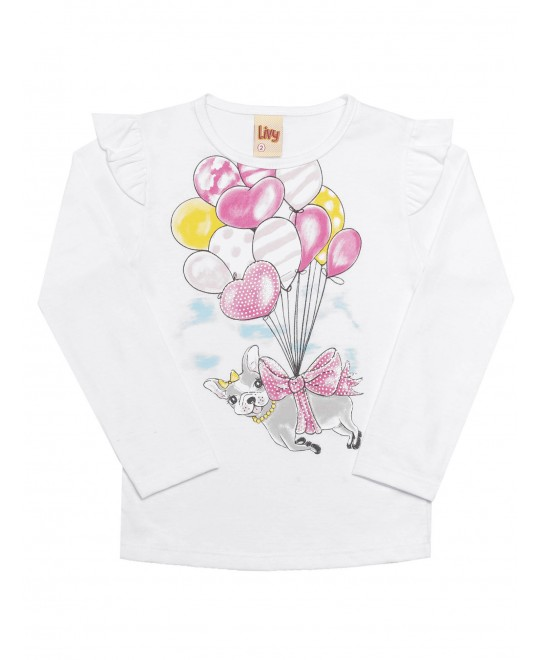 Camiseta Manga Longa Infantil Cachorrinha Balão - Livy