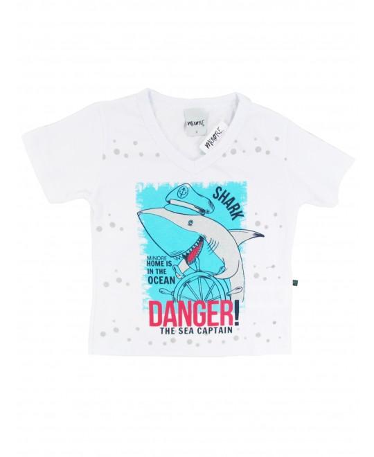 Camiseta Infantil Decote em V Shark - Minore