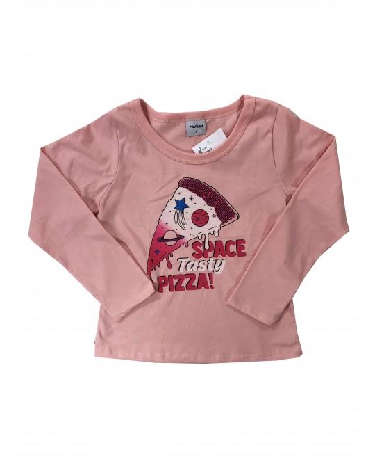 Camiseta Manga Longa Menina Pizza  - Rovitex