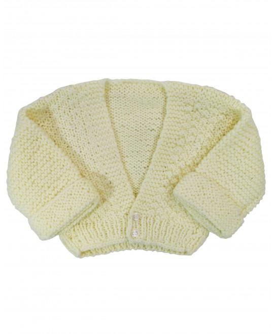 Casaquinho de Lã Amarelo Decote em V - Albarella Infantil