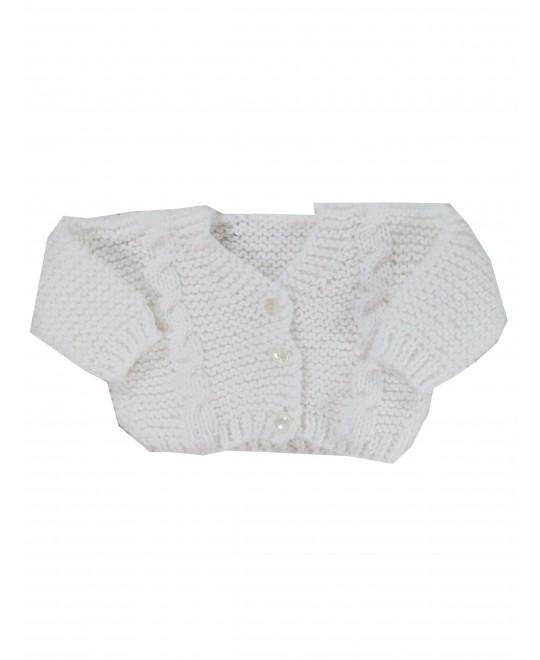 Casaquinho de Lã Branco Trançado - Albarella Infantil