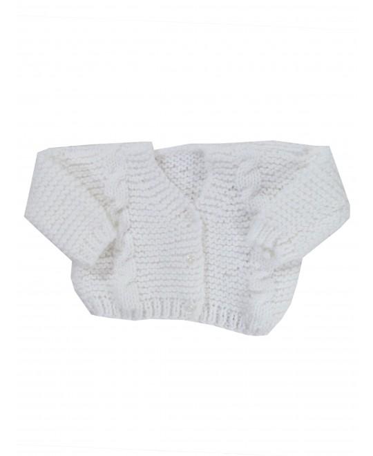 Casaquinho de Lã Branco Julho- Albarella Infantil