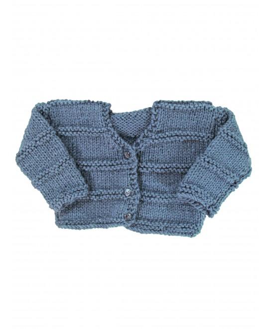 Casaquinho de Lã Cinza com Cordões de Tricot  - Albarella Infantil