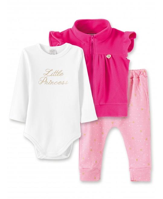 Conjunto Infantil Body, Calça Saruel e Colete Little Princess - Pingo Lelê