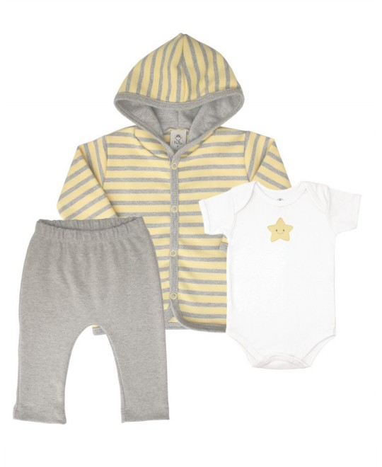 Conjunto para Bebê com Body Calça e Jaqueta Listrada - Piu Blu