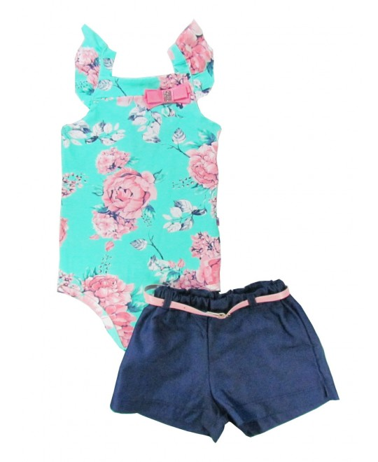 Conjunto Bebê Shorts e Body Estampado - Big Day