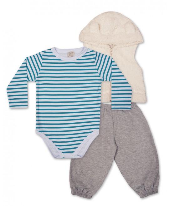 Conjunto para Bebê Body, Calça e Colete Listrado - Pingo Lelê