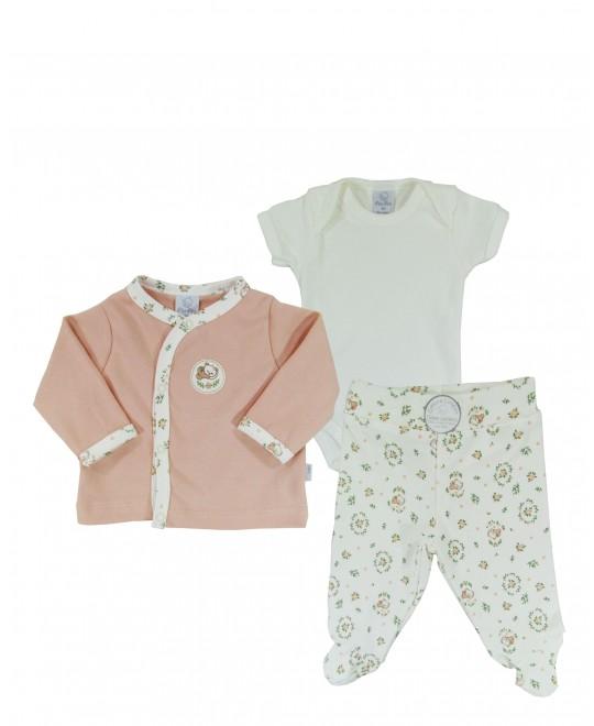 Conjunto para Bebê Calça, Body e Casaco Ursinha- PiuPiu