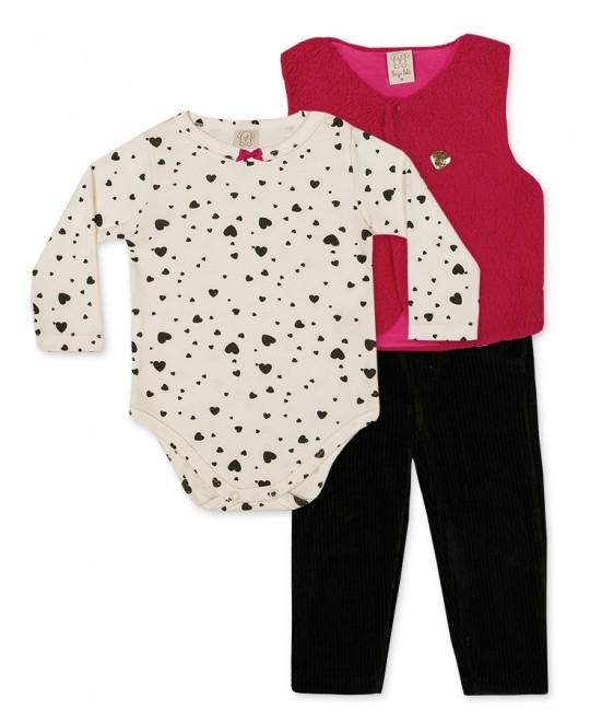 Conjunto para Bebê Body, Legging Veludo e Colete - Pingo Lelê
