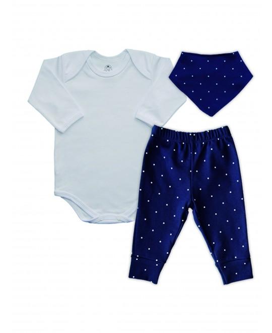 Conjunto Bebê Body, Calça e Bandana Poá - Piu Blu