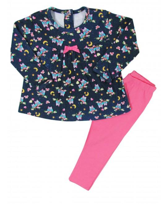 Conjunto Infantil com Legging e Bata Corujinhas - Piu Blu
