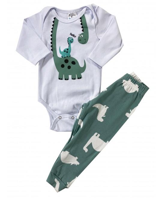 Conjunto Bebê Body Dinossauro Hello e Moletom