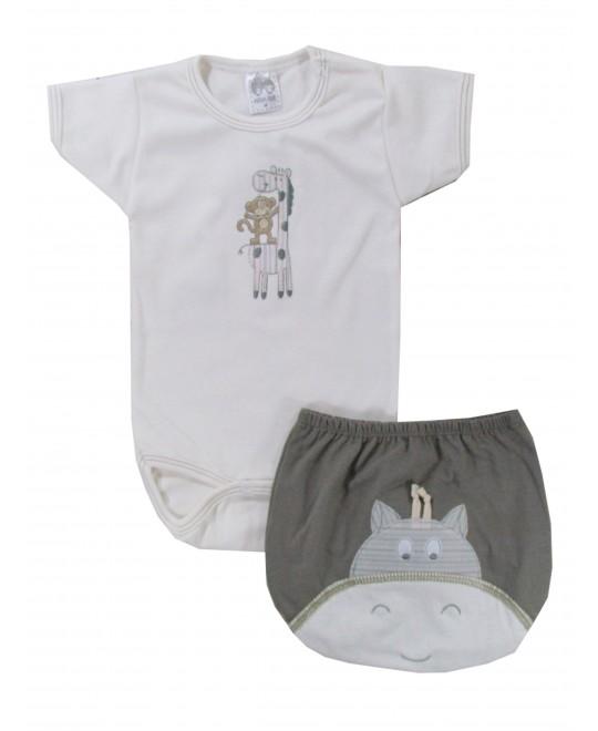 Conjunto Bebê Body e Tapa Fralda Girafa - Hira-Imi