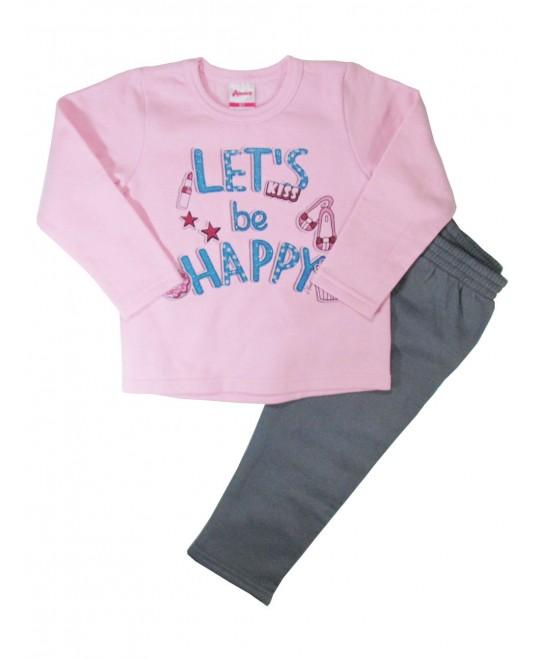 Conjunto Infantil Menina Let 's Be Happy Rosa - Alenice