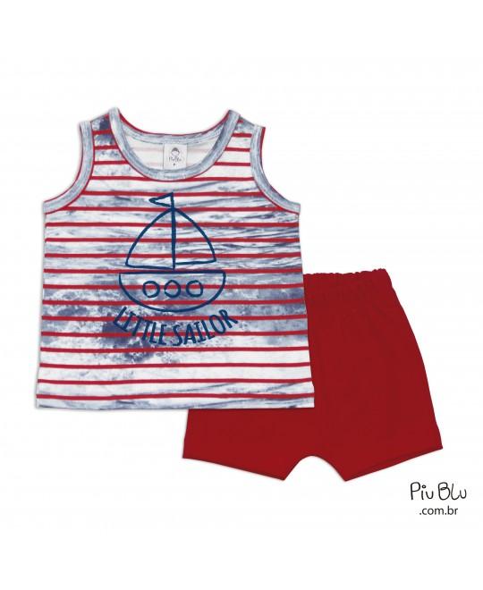 Conjunto Bebê Camiseta Regata e Shorts Little Sailor - Piu Blu