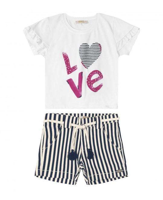 Conjunto Infantil Love com Shorts Listrado - Trick Nick