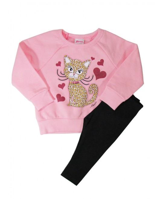 Conjunto para Bebê  Menina Gato e Corações Rosa - Alenice