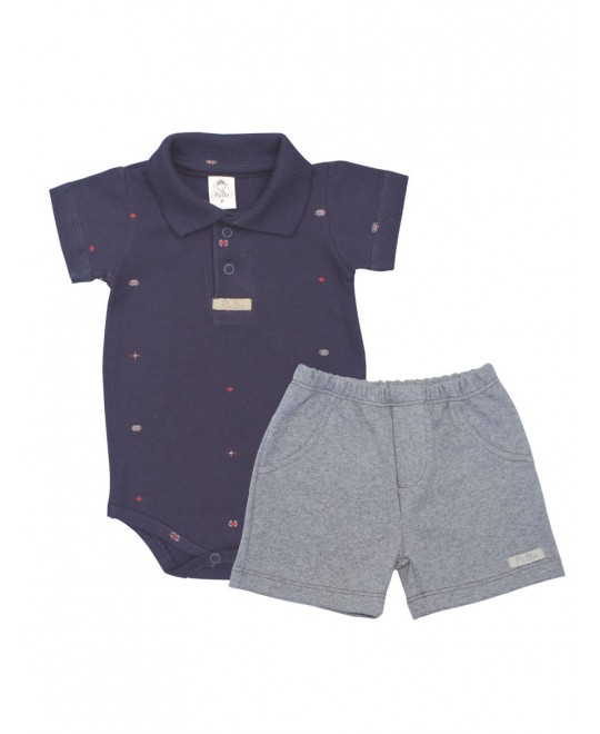 Conjunto Para Bebê Body Polo com Shorts - Piu Blu
