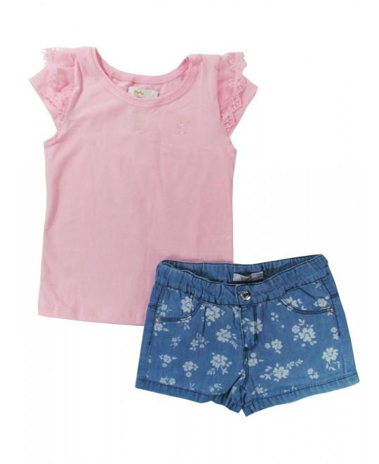 Conjunto Infantil com Shorts Jeans com Flores - Trick Nick