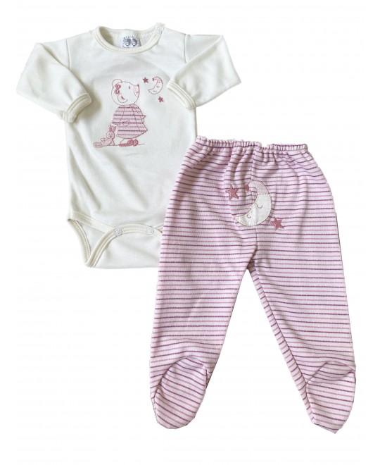 Conjunto Bebê de Body e Calça Ursinha Rosa - Hira-Imi