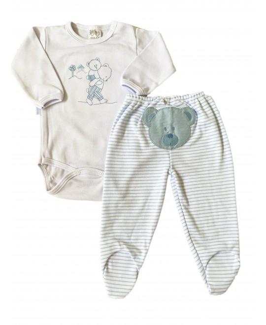 Conjunto Bebê de Body e Calça Ursos Azul - Hira-Imi