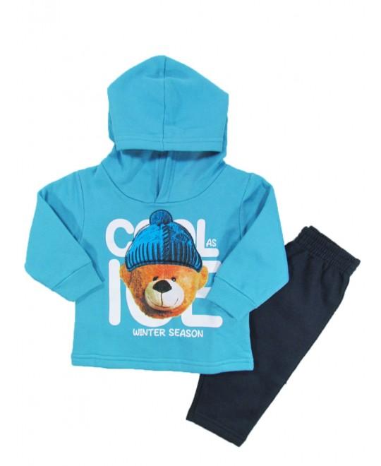 Conjunto Infantil com Capuz Winter Season Azul - Kyly
