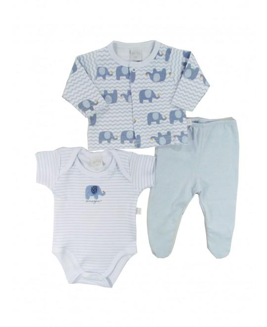 Conjunto Bebê de Body , Culote e Casaquinho Elefantinho - Ano Zero