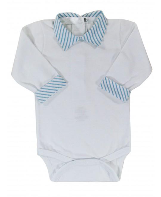 Body com Gola de Camisa Listrada Azul  - PicNic
