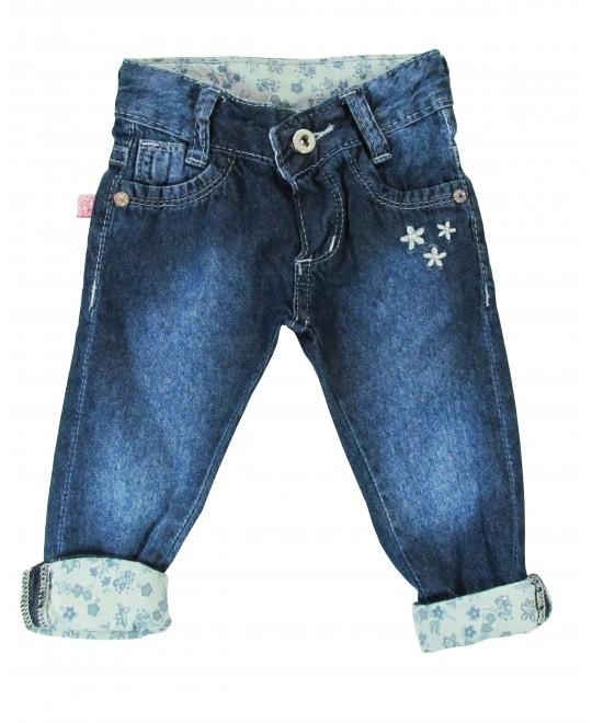 Calça Jeans Infantil para Bebê Barra com Flores - Akiyoshi
