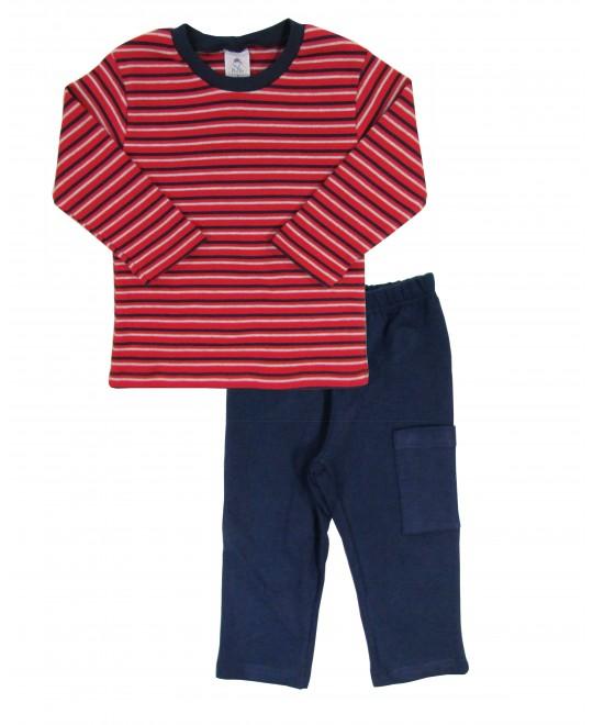Conjunto Infantil Listrado Vermelho - Piu Blu