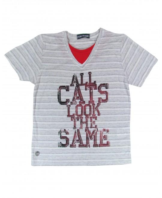Camiseta Infantil em Malha Diferenciada Look The Same - Arte Menor