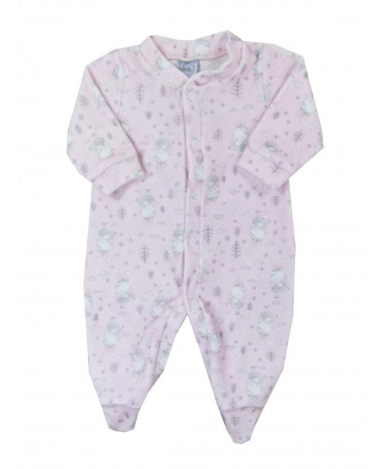 Macacão Comprido Bebê Coelhinhas Rosa - Piu Blu