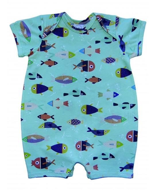 Macacão Curto Bebê Peixes - Piu Blu