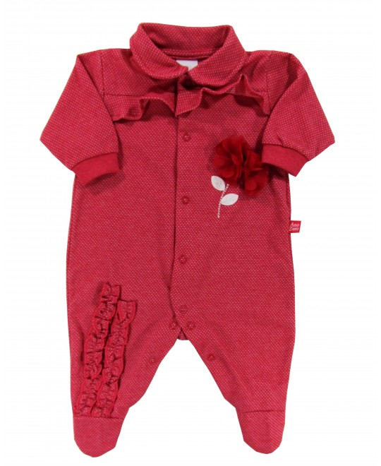 Macacão para Bebê Flor Aplicada - Ano Zero