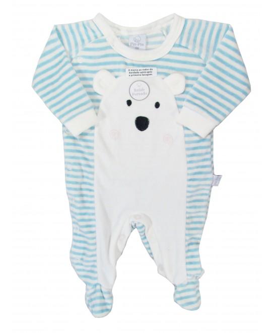 Macacão Longo para Bebê Plush Listrado Urso Azul - Piu Piu