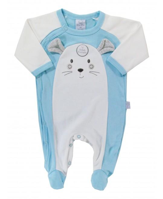 Macacão Longo Bebê Divertido Ratinho Azul  - Piu Piu