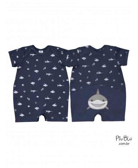 Macacão Curto Bebê Menino Tubarões- Piu Blu
