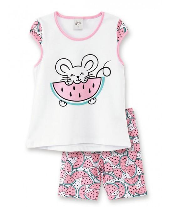 Pijama Infantil com Bermuda Brilha no Escuro Melancia  - Pingo Lelê