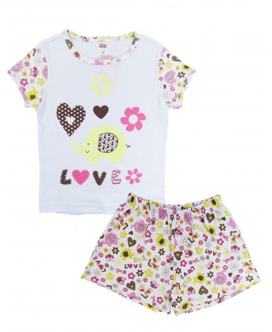 Pijama Curto Infantil para Menina Love - Tampinha