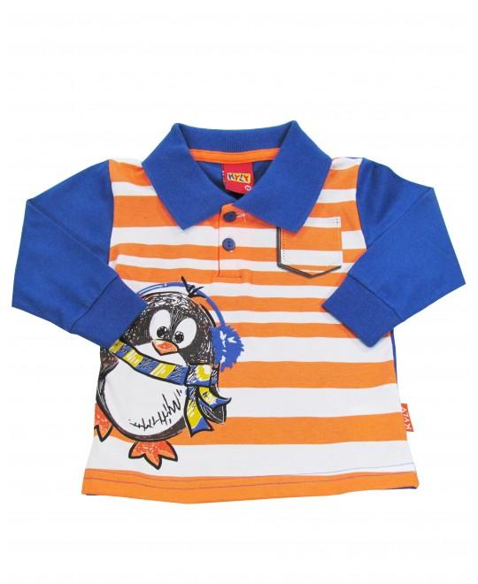 Camiseta Gola Polo Infantil Pinguim - Kyly