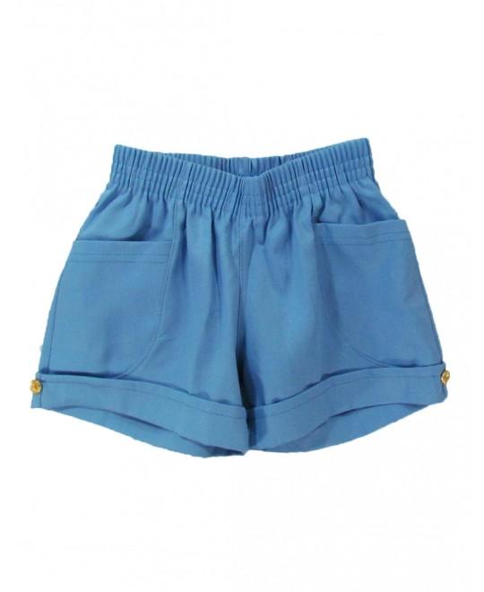 Shorts Infantil Em Sarja Azul com Barra Italiana - Charmy Eye