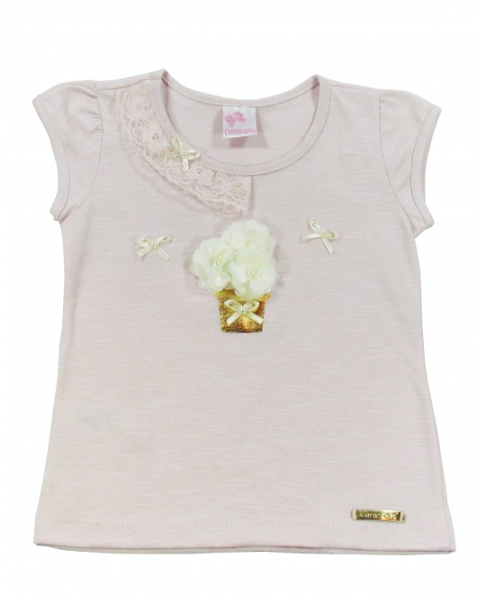 Blusa Infantil Vaso Dourado - Caracoles