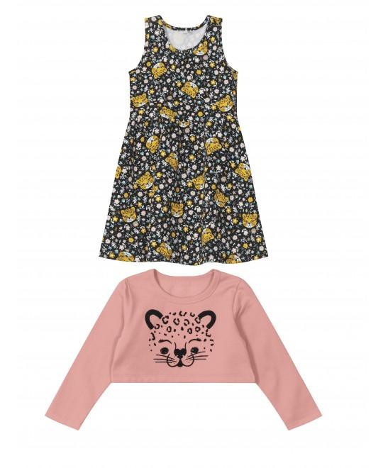 Vestido Infantil com Blusão Leopardo - Rovitex