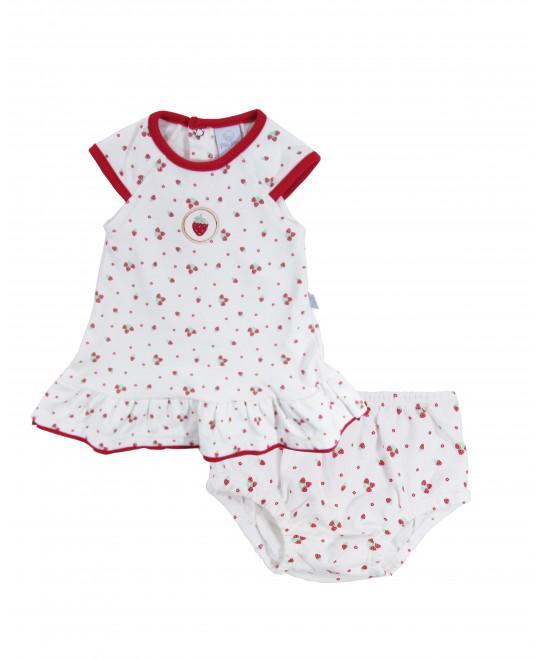 Vestido para Bebê com Tapa Fralda Moranguinho - Piu Piu