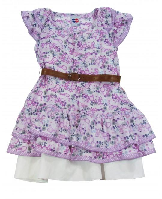 Vestido Infantil Estampado Lilás - TipTop