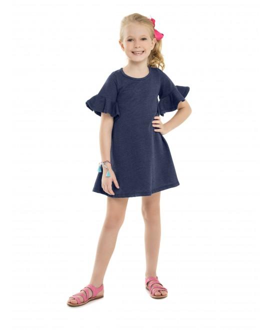 Vestido Infantil em Moletom Jeans - Minore